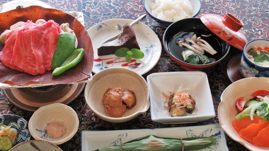 *【夕食一例】朴葉味噌焼付・定番お手軽会席です♪