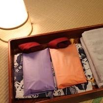 アメニティ(浴衣、羽織、バスタオル、ハンドタオル、巾着)