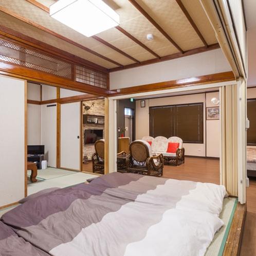 ご宿泊は8名様までOK!ツインベッド+畳2間で布団を合計6組敷くことが可能です。