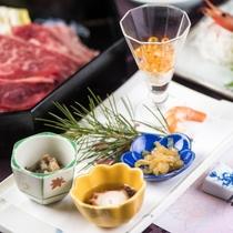 【夕食/前菜例】「季節の料理」を豊富に、一品一品に真心を込めたこだわりのお料理をご堪能ください
