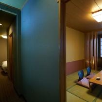 【特別室】限定3室。和室とベッドルームのある広々和洋室。滞在のスタイルに合わせて過ごせる贅沢な間取り