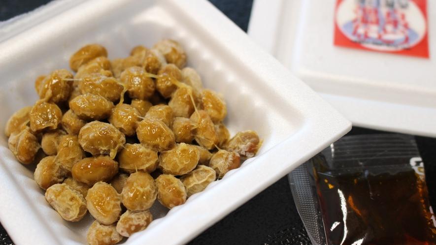 *[ご朝食/落合温泉なっとう]温泉水に青森県産の中粒大豆を一昼夜浸して作った一味違う納豆