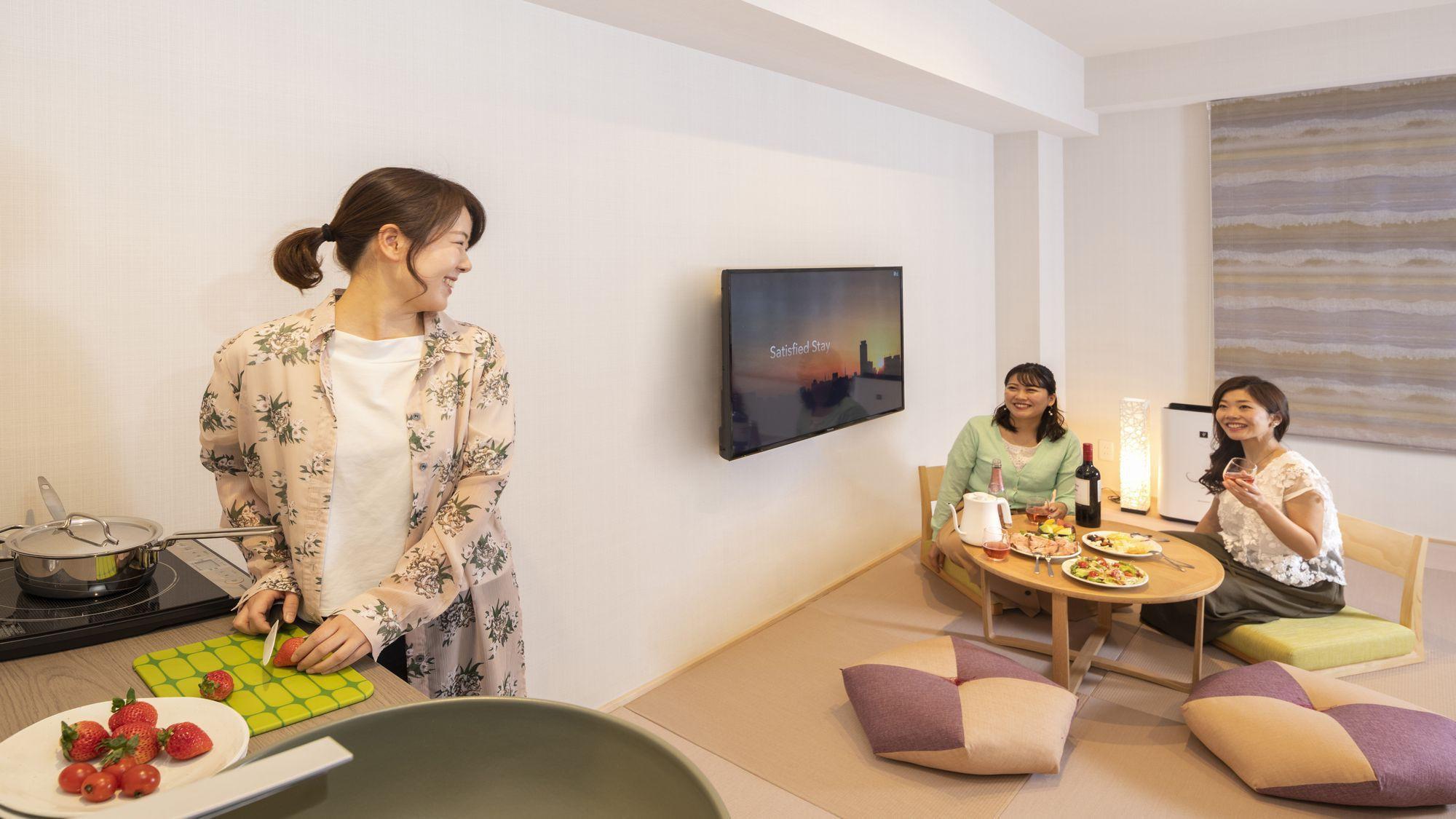 【レジデンシャルファミリールーム/和洋室】IHヒーターを設置のミニキッチン付き客室