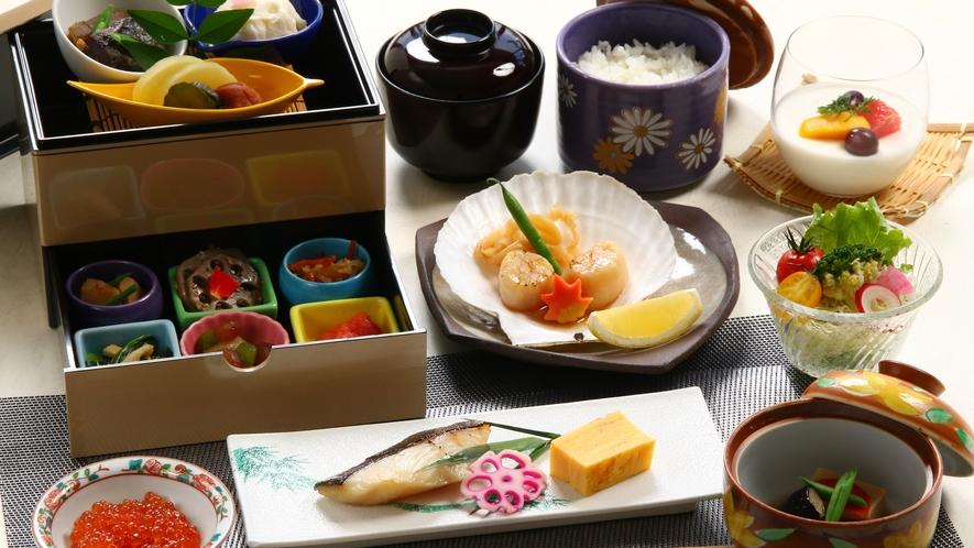 北海道の海の幸、山の幸の朝食をご堪能ください