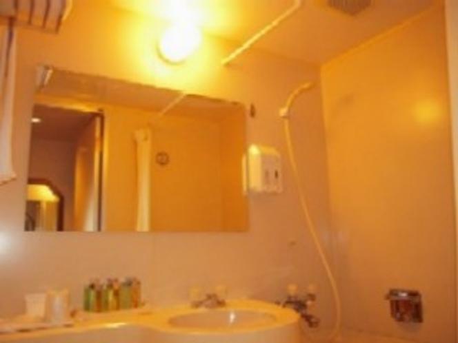 バスルームの鏡は通常より大きいワイドサイズ。曇り止めされているのが嬉しい♪