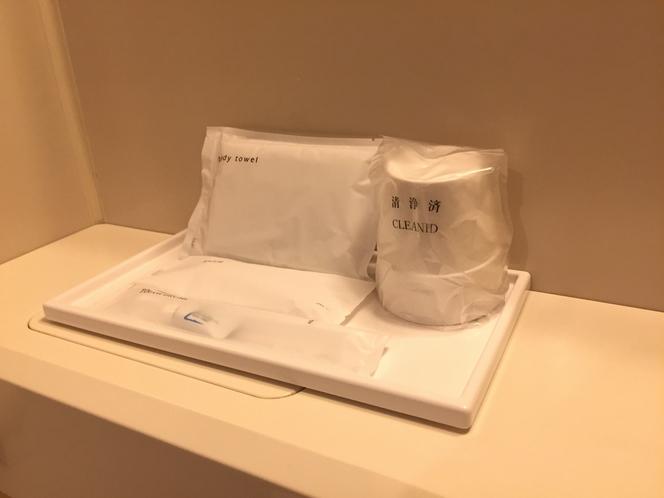 バスルーム。アメニティ・歯磨きセット・レザー・ボディータオル常設