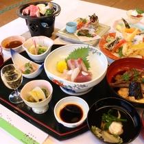 【夕食一例(スタンダード料理)】メインは季節によって内容が変わる、お肉とお魚料理二大コラボです♪