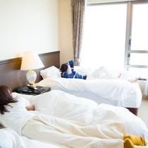ベッドもフカフカだよっ♪
