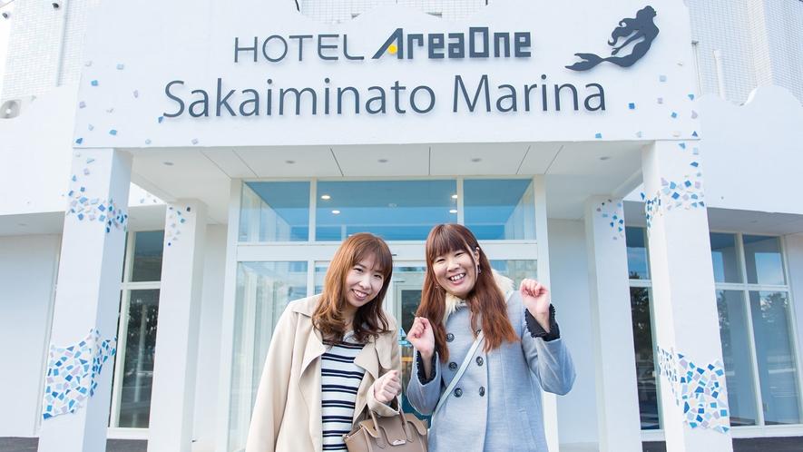 【ホテル玄関】到着!エリアワン境港マリーナ♪