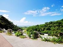 【真喜屋ダム】上流域展望スペースからは羽仁の海も見えます