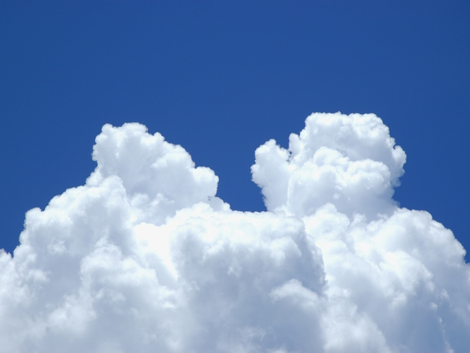 夏空の入道雲が青と白のコントラストを描く