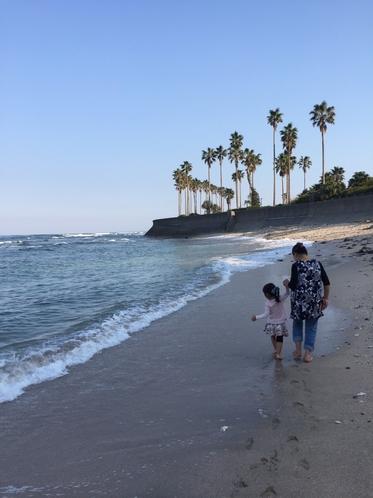歩いて5分のビーチ