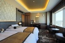 デラックスツインルーム 客室最上階13階にあり姫路城もご覧になれます。