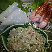*夕食一例/日本海で朝獲れた新鮮な魚を仕入れて、お刺身やなめろうなど色々なメニューをご用意いたします