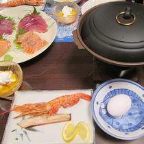 *夕食一例/真鯛、鯵、鯖、イカなど日本海で朝獲れた新鮮な魚を仕入れております!