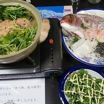 *夕食一例/アンコウ鍋にお刺身、山菜などその季節の旬をお楽しみ下さい!