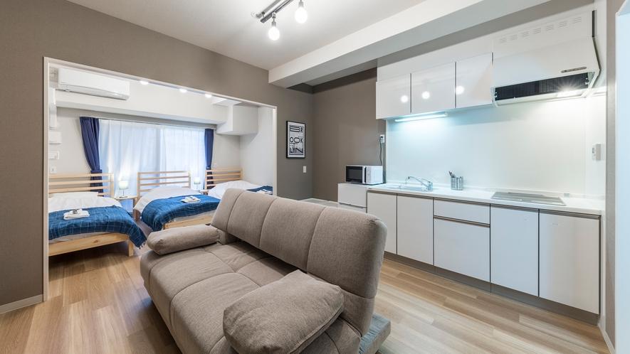 ジュニアスイートIJ キッチン・リビング完備の1Rタイプのお部屋