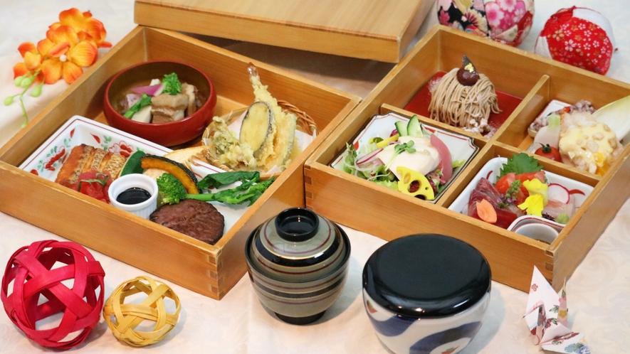 【ルームサービス夕食】『和洋中・味の饗宴』折衷重箱御膳◆デラックス