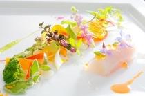 魚介類のルーランドと紫バジルのジュレ