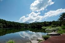 弥六沼越しに望む磐梯山の絶景