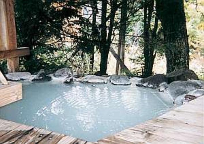 岩風呂の貸切露天風呂(フロントにて予約)