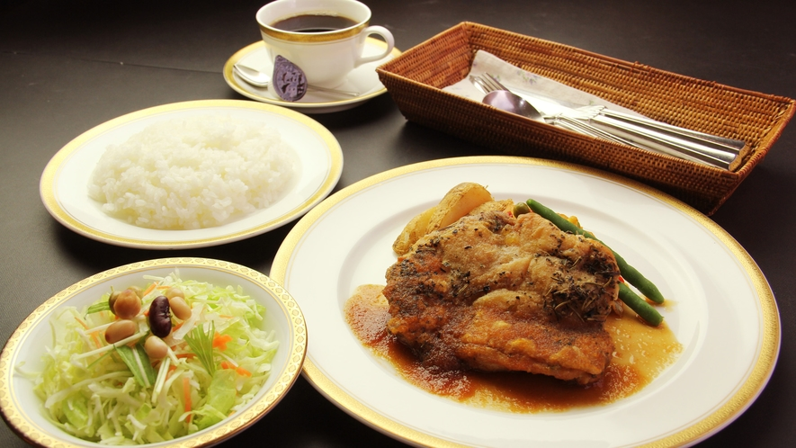 ◆【ディナー料理】チキンの香草焼きコース一例