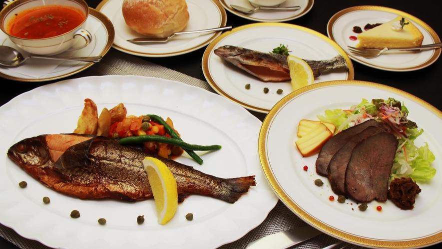 ◆【ご夕食一例】新鮮な地産の野菜など地元食材を中心に、丹精こめた料理の品々をご堪能いただけます。