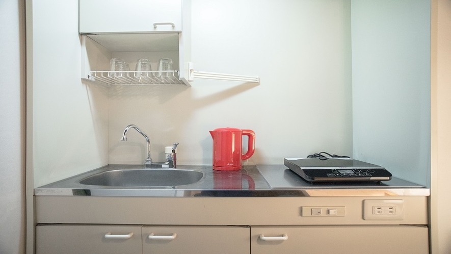 連泊に役立つ簡易キッチン