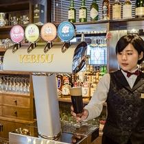 【レストラン】黒ビールを含め、全5種の生ビールがございます。