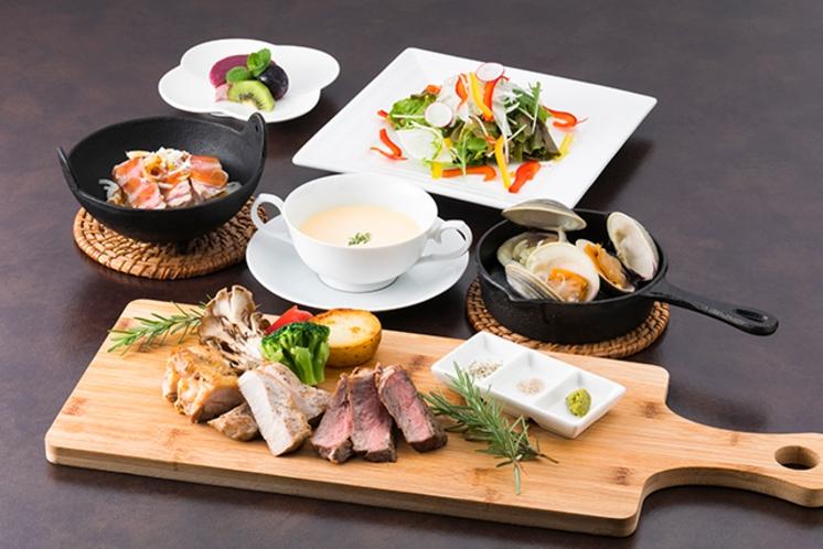 肉の盛り合わせと伊豆野菜のグリル