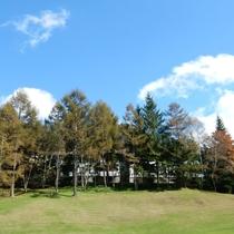 10月紅葉はじめ外観グリーンから