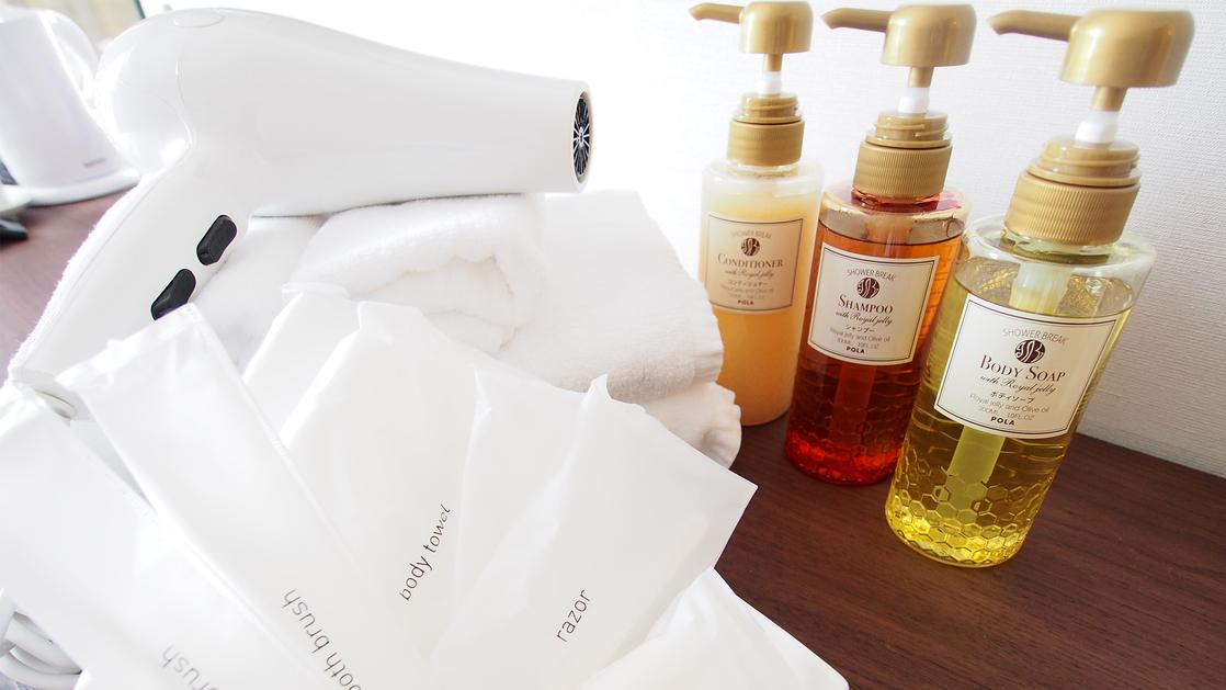 アメニティ:ボディソープ、シャンプー、コンディショナーは、香りの良さと清潔感が好評なPOLAをご用意