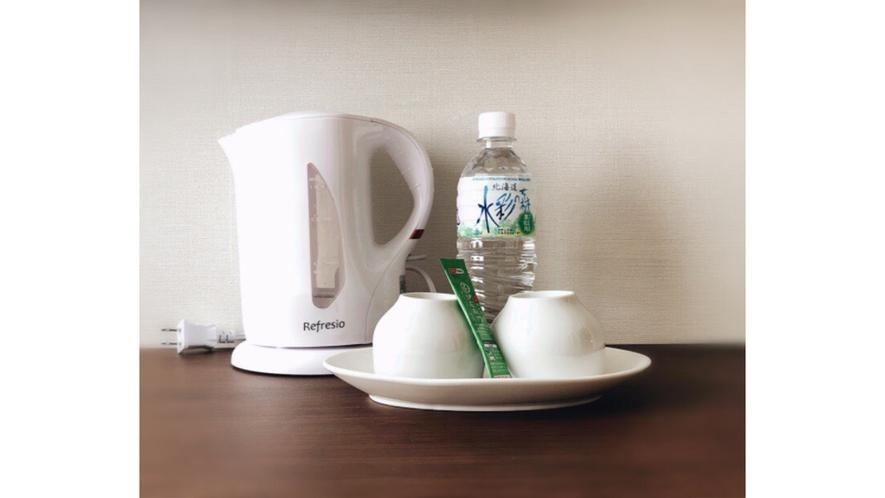 全室お茶セット・電気ケトルご用意しております。ティータイムやお夜食にご利用ください。