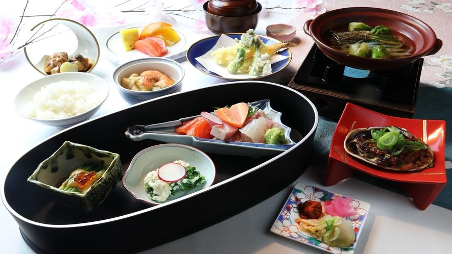 桜ご膳 21年4月1日~4月15日限定 日本料理あさ日(ロッジ棟2階)にて
