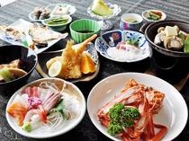 【グレードアップ夕食一例】紅ズワイガニ1杯付!日本海で獲れた魚介類をふんだんに使いボリューム満点。