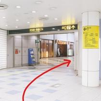 ①地下鉄 空港線 中洲川端駅で下車。7番出口を上がります。