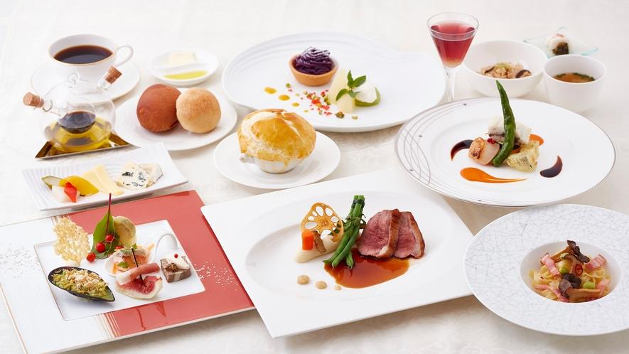 【夕食】全体イメージ-カジュアルフレンチのコース料理-