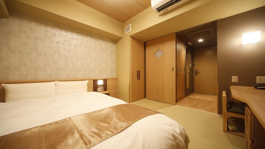 ダブルルーム【禁煙】(140×195センチ)約15.80~16.30平米◆サータ社ベッド完備◆