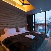*3ベッドルームヌプリプレミアム室内一例/ツインまたはダブルベッドの寝室。
