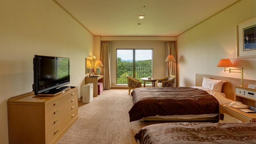 *【洋室30~36平米(バス付/洗浄機付トイレ)】全室セミダブルサイズのゆったりベッド。