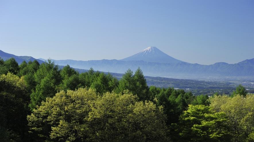 *【当館上空より】富士山や南アルプス、八ヶ岳を遥かに望む、森に囲まれた当館。森がくれる癒しと元気