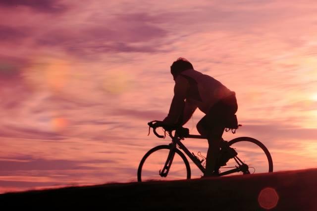 夕日 ロードバイク