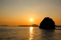 中島の夕日