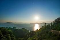 中島の山からの夕日