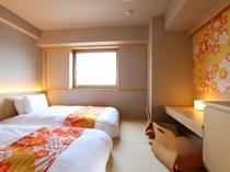 ◆全室禁煙 プレミアム和洋室ツイン【10~12階・20㎡・底床ベッド110cm】