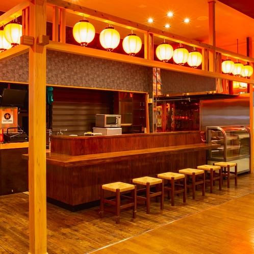 【館内:飛鳥茶屋】 17時から営業の居酒屋風屋台の飛鳥茶屋では、美味しいおつまみを肴にお酒を愉しめる