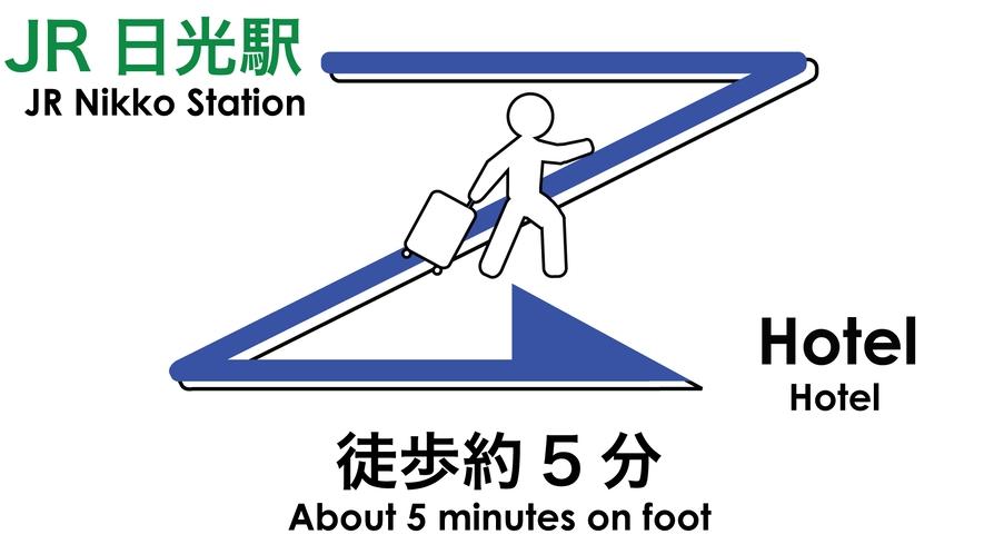 JR日光駅⇒ホテルまでのご案内。徒歩約5分です。