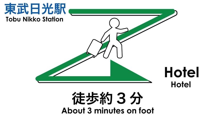 東武日光駅⇒ホテルまでのご案内。徒歩約3分です。