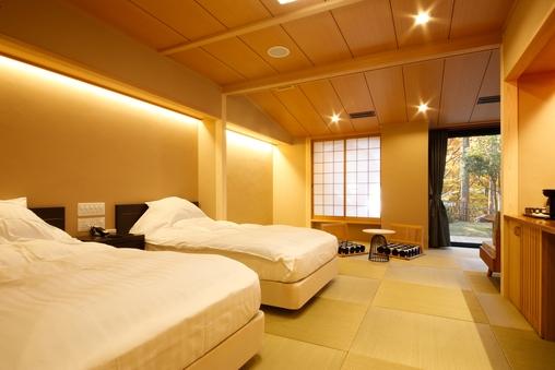 【つづみ桜/洋室ツイン】温泉付き客室(金銀混合泉)