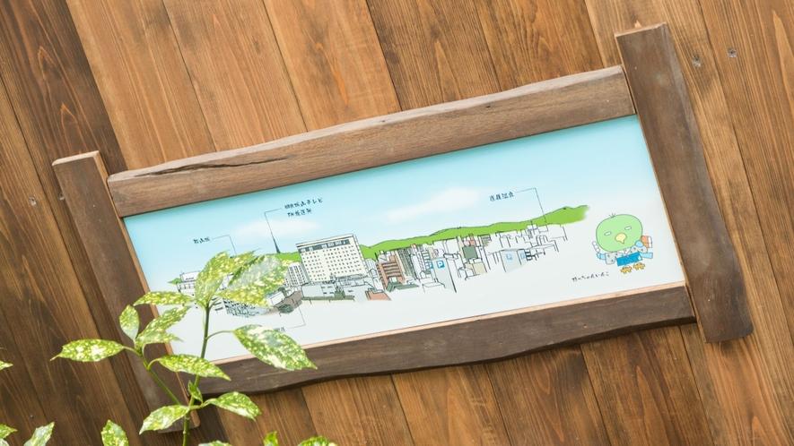 ◆男性・女性露天風呂には松山市内のマップ